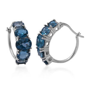 925-Sterling-Silver-Platinum-Over-Blue-Topaz-Hoop-Hoops-Earrings-Jewelry-Ct-8-5