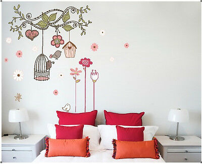 Colourful Tree Flowers Bird Cage Girls Bedroom Wall Stickers Mural Vinyl Decor