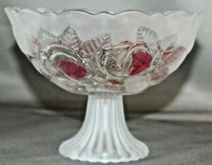 Soga-Japan-Contemporary-Glass-Ice-Rose-Footed-Bowl-Dish-Frosted-amp-Pink-Vase