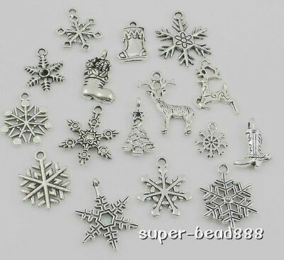 16pcs Tibetan Silver Mixed Christmas Snowflake Charms Festive Pendants Xmas Free