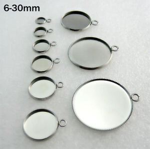 50x-Stainless-Steel-Pendants-DIY-Round-Cabochon-Blank-Bezel-Base-Tray-6mm-30mm