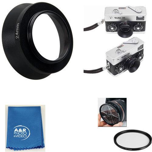 24mm Vite in Metallo Lente Paraluce Filtro per Rollei 35 35T 35TE Film Camera