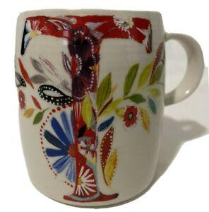 "Anthropologie PETAL PALETTE MONOGRAM ""T"" 14oz Mug Cup Floral Starla M. Halfmann"