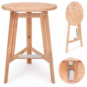 Table haute pliable en bois massif - Mange debout • Ronde Ø 78cm - Hauteur 111cm