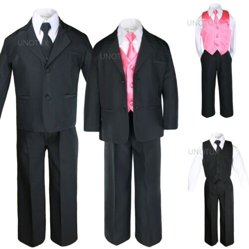 BABY TODDLER BOY KID TEEN WEDDING PROM OCCASION FORMAL TUXEDO SUIT BLACK sz S-20
