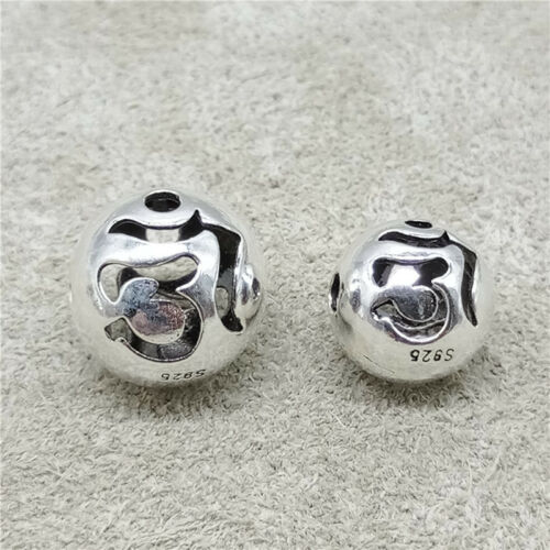 2pcs of 925 Sterling Silver OM Round Beads 2-Sided for Yoga Meditation