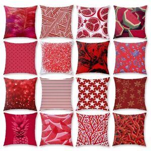"""18"""" Red Geometric Pillow Case Sofa Car Throw Cushion Cover Pillowcase Home Decor"""