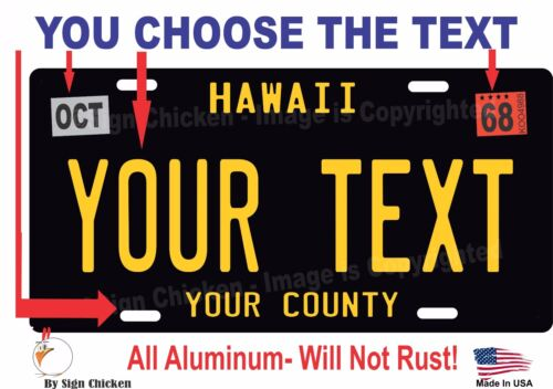Hawaii License Plate Personalized Custom Auto Bike Motorcycle Moped Key Tag