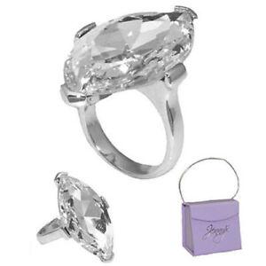 Jenny-Elvers-Ring-Damenring-grosser-weisser-Glaskristall-Gr-18-57-Neu-Schmuck