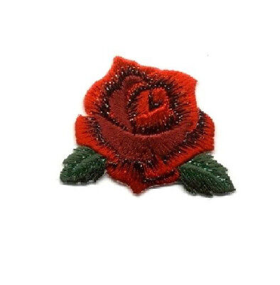 """Rose Pin Brooch -  Red Rose Bloom - Flower - Red Embroidered - Jewlery 1 7/8"""""""