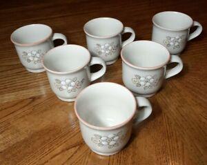 Set 6 Vintage Chantilly Fleur de Bois Stoneware Mugs/ Coffee Cups Japan Floral