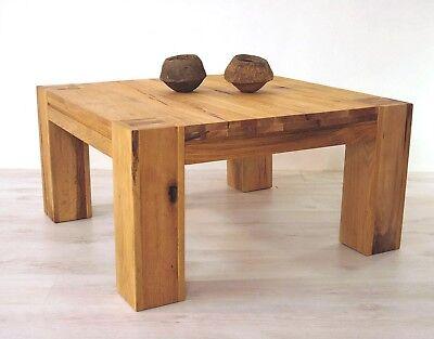 Couchtisch Eiche massiv Natur 90 x 90 cm Braxton Wohnzimmertisch  Beistelltisch | eBay