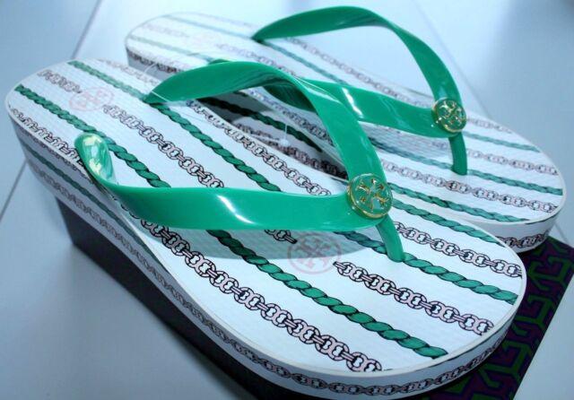 c20c6d2179e0c NIB Authentic TORY BURCH Wedge Flip Flop in White Emerald Gemini Rope Sz 9