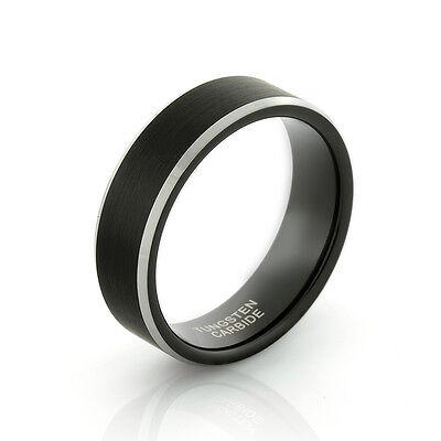 Men's Tungsten Ring Black Brushed Stripe Silver Edges Comfort Fit Wedding Band