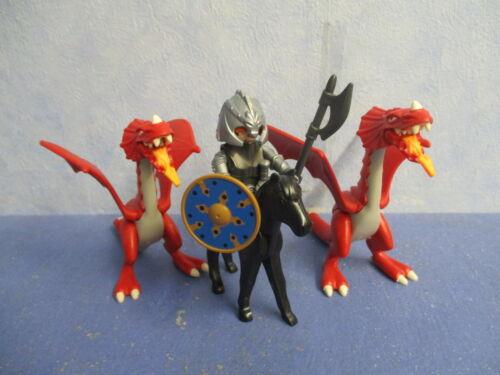 2 Dragon Chevalier Figurines Figures knigths Dragons 3666 Ritterburg Playmobil 8697