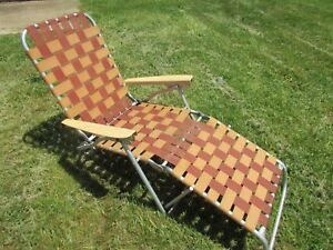 Admirable Details About Vintage Retro Aluminum Folding Webbed Chaise Lounge Lawn Chair Brown Tan Squirreltailoven Fun Painted Chair Ideas Images Squirreltailovenorg