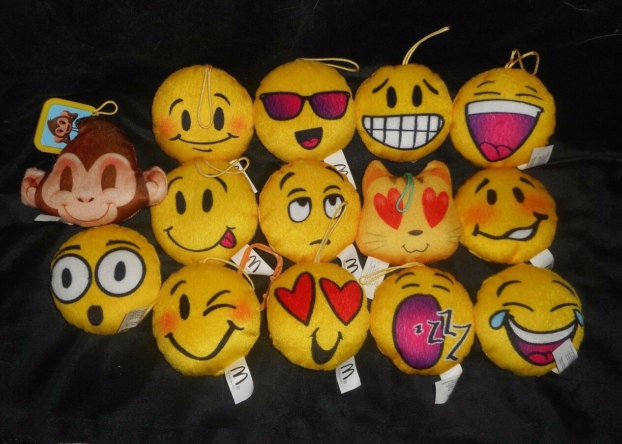LOT OF OF OF 14 MCDONALD'S HAPPY MEAL EMOJI YELLOW FACES STUFFED ANIMAL PLUSH TOYS e5bd35