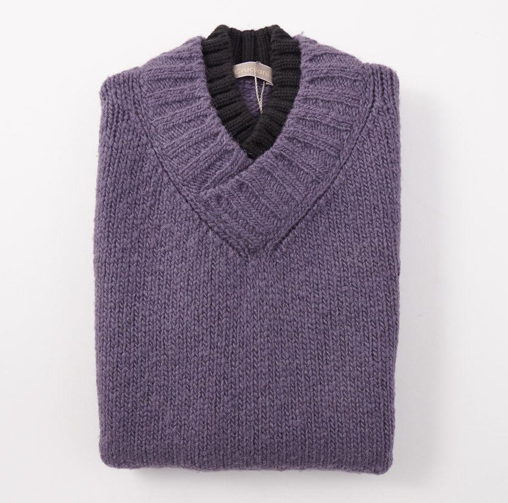 NWT 650 CRUCIANI Heather lila Wool-Mohair-Cashmere Sweater Vest L (Eu 52)