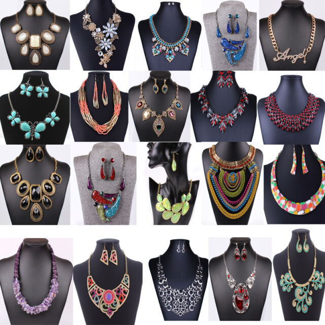Fashion Women Jewelry Pendant Chain Crystal Choker Chunky Statement Bib Necklace