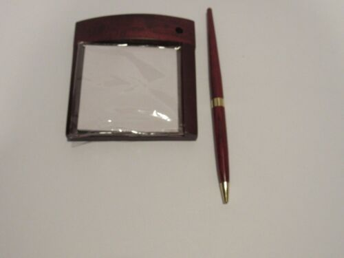 Rosewood Post-It Desk Notepad with Ballpoint Pen