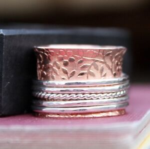 Solid-Copper-Band-925-Sterling-Silver-Wide-Band-Meditation-Ring-Spinner-Ring-sr3