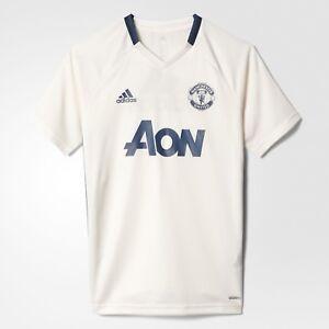 adidas-Manchester-United-Kid-039-s-White-Premium-Short-Sleeved-Training-Jersey-Tee