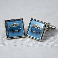 blue bay window campervan cufflinks bus vw retro summer