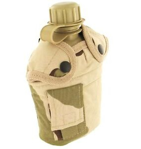 1-Litre-ARMY-WATERBOTTLE-British-desert-camouflage-flask-bottle-amp-belt-pouch
