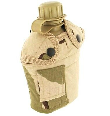 1 Litre ARMY WATERBOTTLE British desert camouflage flask bottle & belt pouch