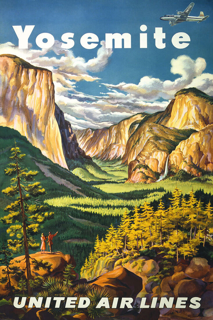 Vintage Travel Art -Yosemite  -  24 x36  Art on Canvas