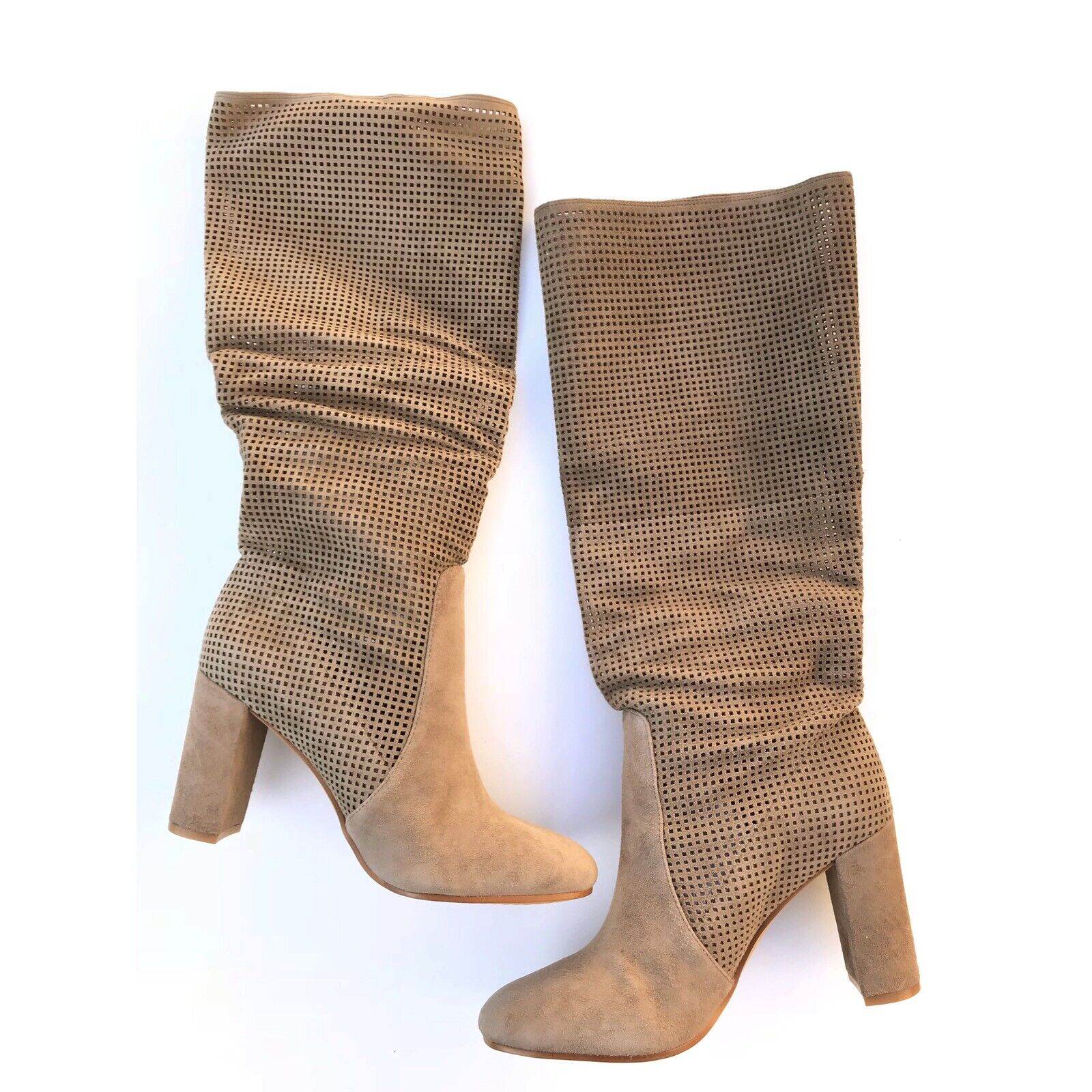 Vince Camuto Women Sz 8.5 Secillia Perforated Suede Boots Foxy Slouch Scrunch