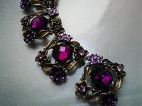 4 Magenta Rhinestones Metal Beads With Flower And Leaves Motif, Connectors.
