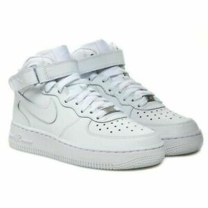 SCARPE-SNEAKERS-UNISEX-NIKE-ORIGINALE-AIR-FORCE-1-MID-GS-314195-113-PELLE-AI