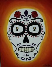Sugar Skull Painting - Day of the Dead - Acrylic on Canvas - Mexican Wall Art