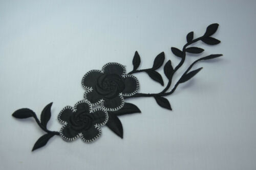 25cm 9/' STYLISH BLACK FLOWER TRIM Embroidered Sew Iron On Cloth Patch APPLIQUE