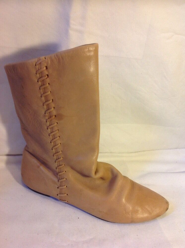 Office Beige Ankle Leather Boots Size 39