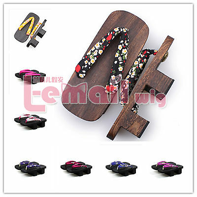 Japanese ladies flip flops wooden clogs Kimono cosplay accessories Geta Sandals