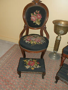 Image Is Loading BEAUTIFUL ANTIQUE VICTORIAN NEEDLEPOINT CHAIR  AND STOOL PAIRING