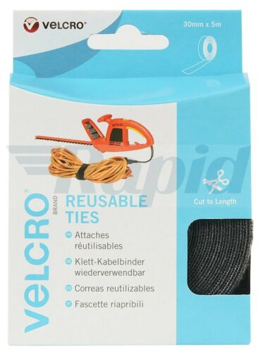 VELCRO® Brand VEL-EC60254 Reusable Ties 30mm x 5m Black 1 Roll