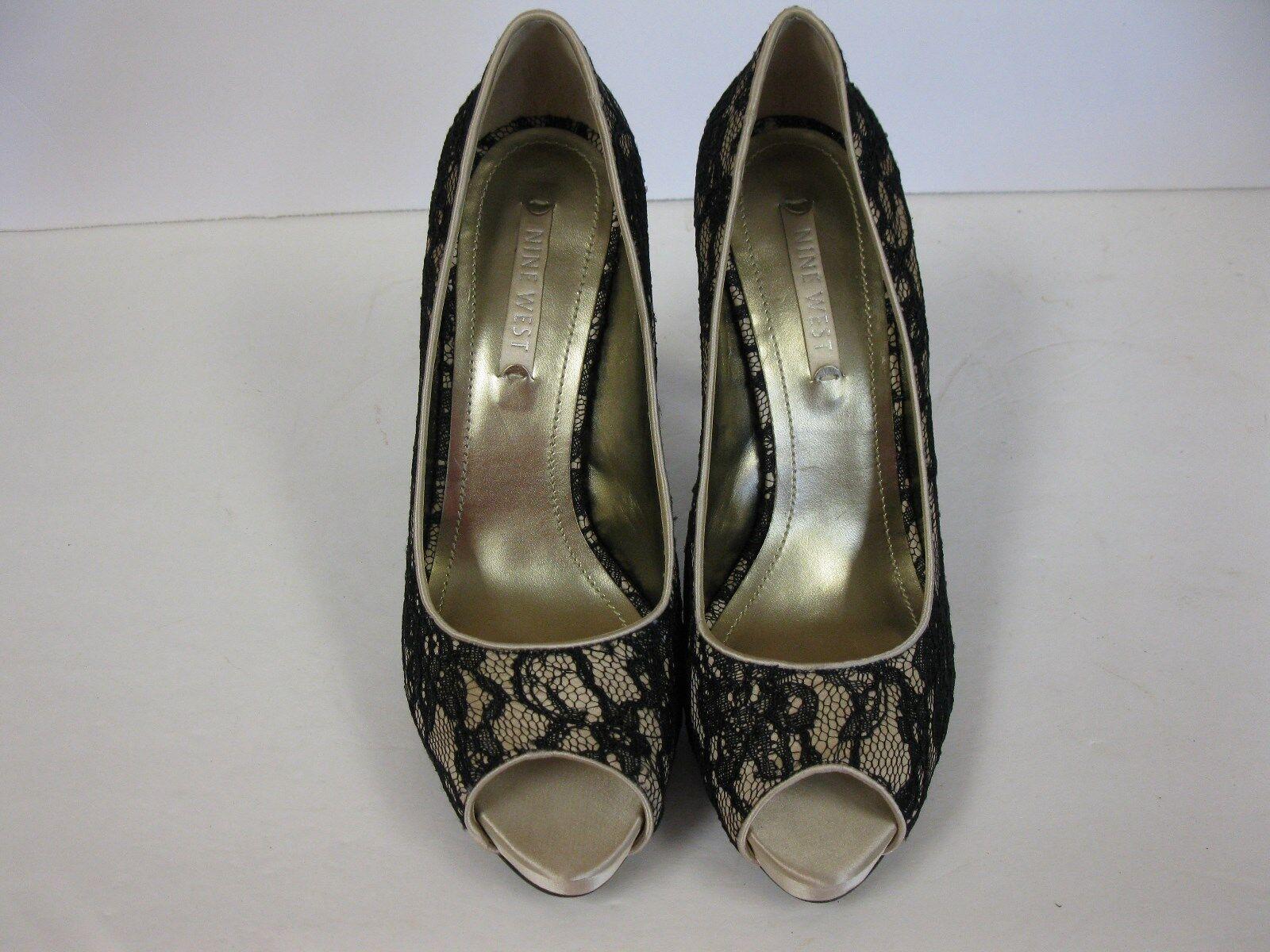 Nine West shoes Heel Classic Pump Lace Black Open Toes Size 10 M