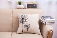 Throw Pillow Case Cushion Cover Home sofa pillowslip Linen black Dandelion