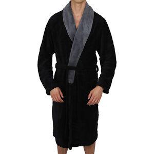Mens-Bathrobe-Contrast-Collar-Black-Coral-Fleece-SUPER-SOFT-Heavy-Weight