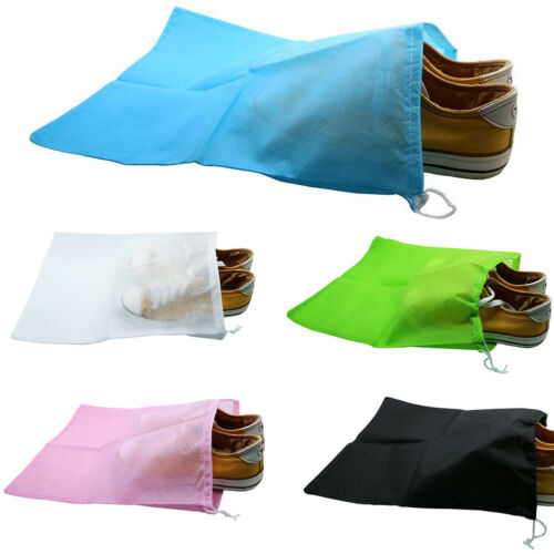 10x Portable Boot Shoes Bag Home Storage Drawstring Dustproof Bags Non-woven MM