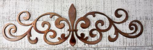 "Ornamental Fleur de Lis Scroll Copper//Bronze Metal Accent 15 1//2/"" x 4 3//4/"""