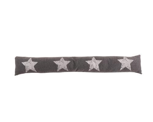 Zugluftstopper Sterne 90 cm x 15 cm Türstopper Windstopper grau silber
