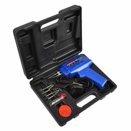 Electric Soldering Iron Kit Set with Solder//Flux 100W Gun /& Carry Case TE656