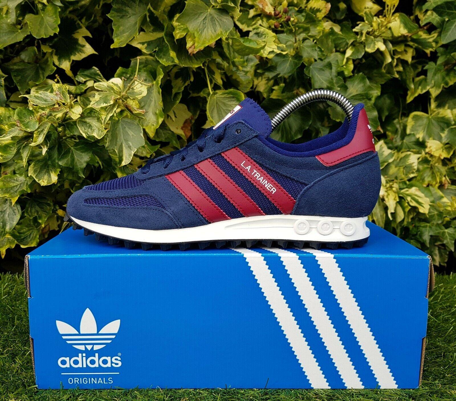 BNWB & Genuine Adidas Originals ® LA TRAINER OG bleu Marine Bordeaux Baskets Taille UK 6