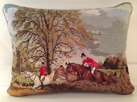 Needlepoint/petit Point Fox Hunt Pillow