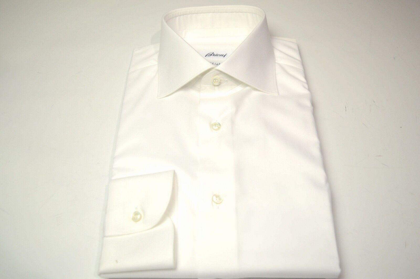NEW BRIONI White Dress SHIRT 100% Cotton Size 17 Us 43 Eu  (SE38)