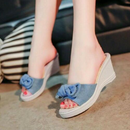 Details about  /Women/'s Bowknot Slip On Wedge Heel Sandals Open Toe Casual Shoes Slippers